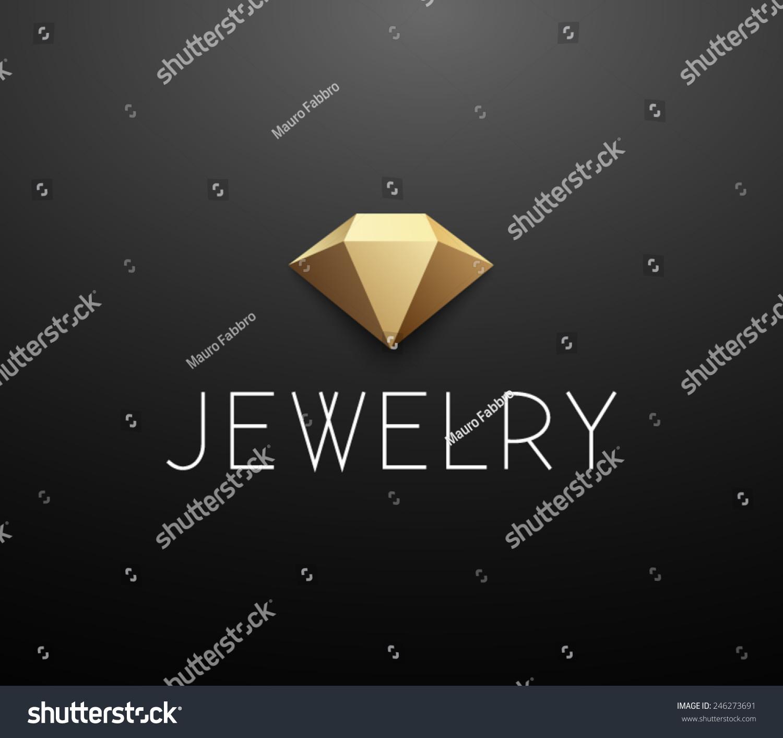 Golden Luxury Logotype Template: Logo Template Jewelry Diamond Golden Jewellery Stock