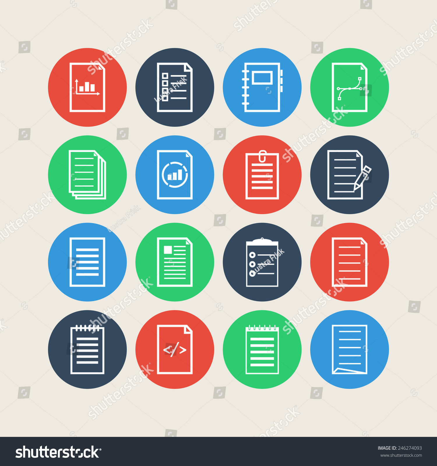 Set of simple document icons for web design sites applications business and stickers