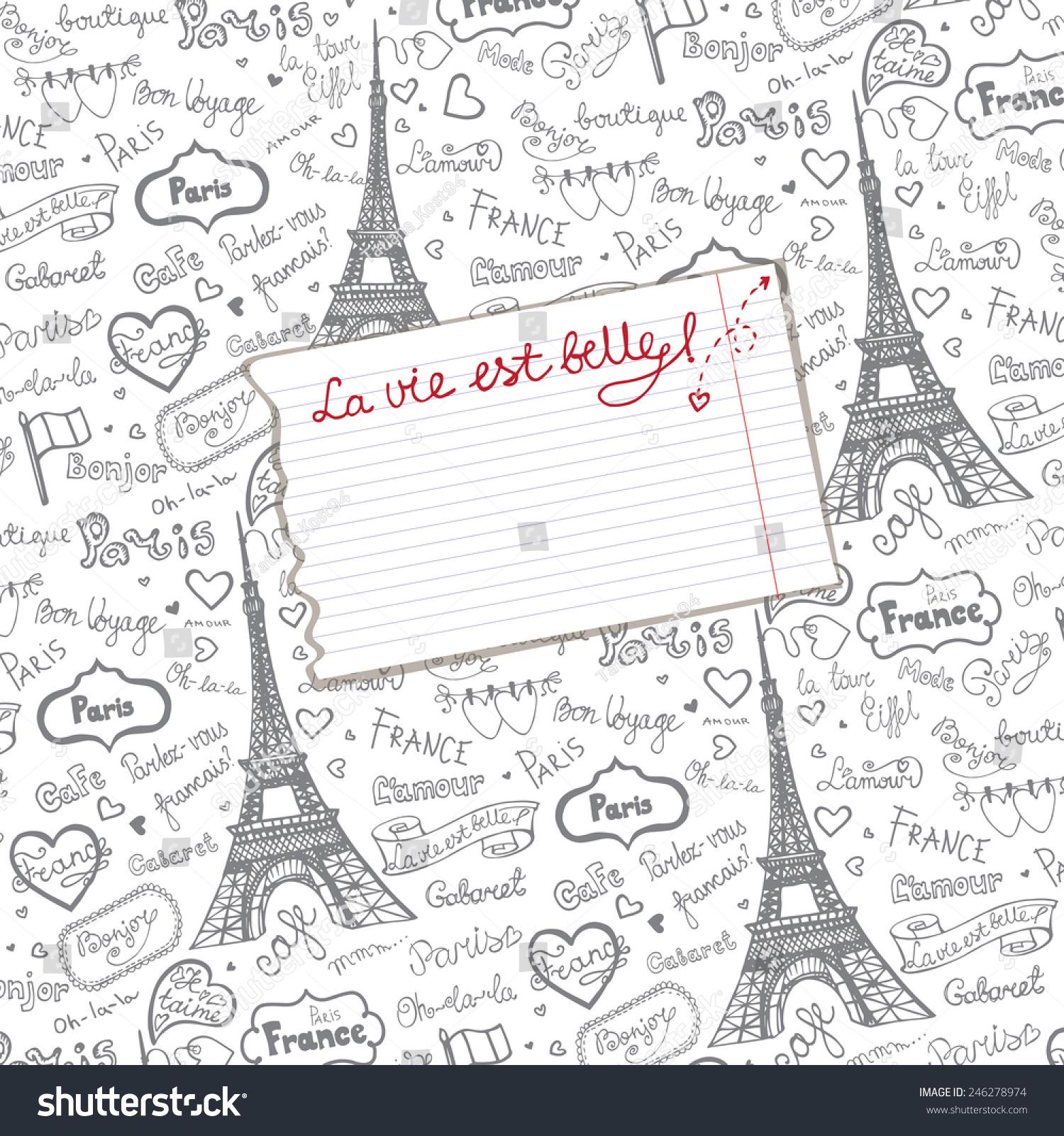 Paris Symbolsletteringemblems Pattern Background Piece Paperhand