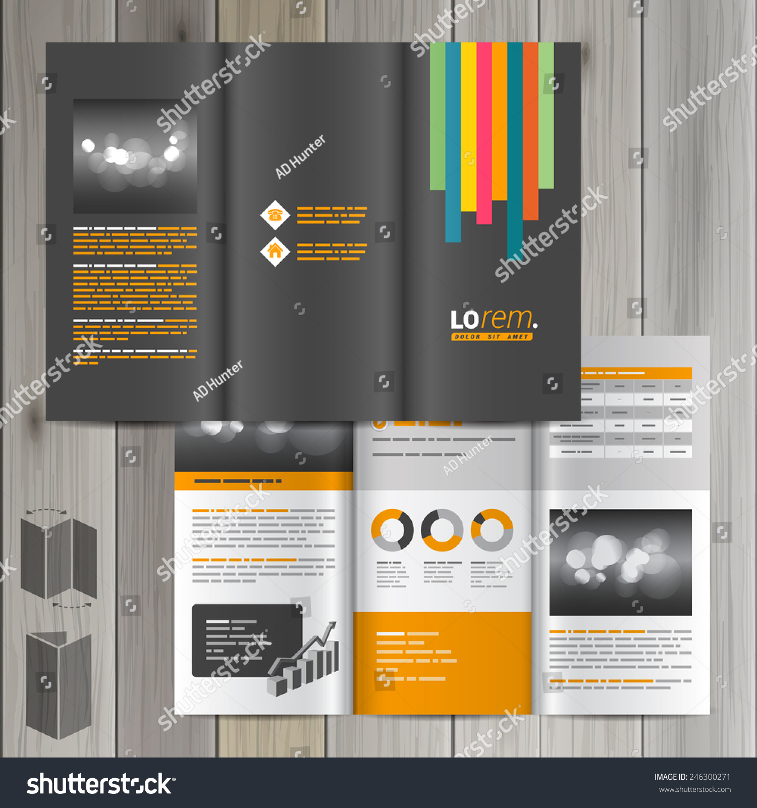 Black Brochure Template Design With Color Lines Cover Layout Ez