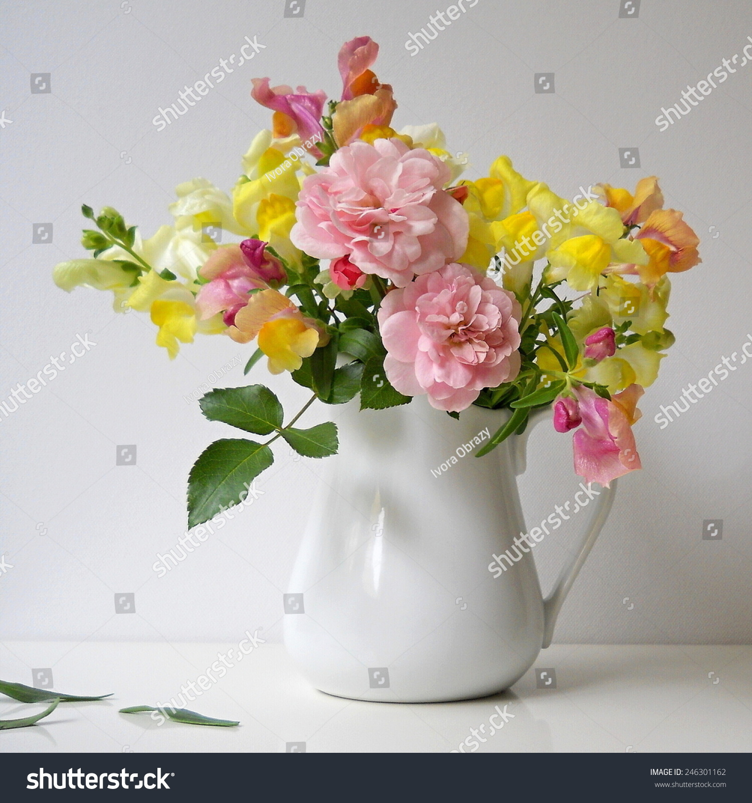 Royalty Free Bouquet Of Snapdragon Flowers And Roses 246301162