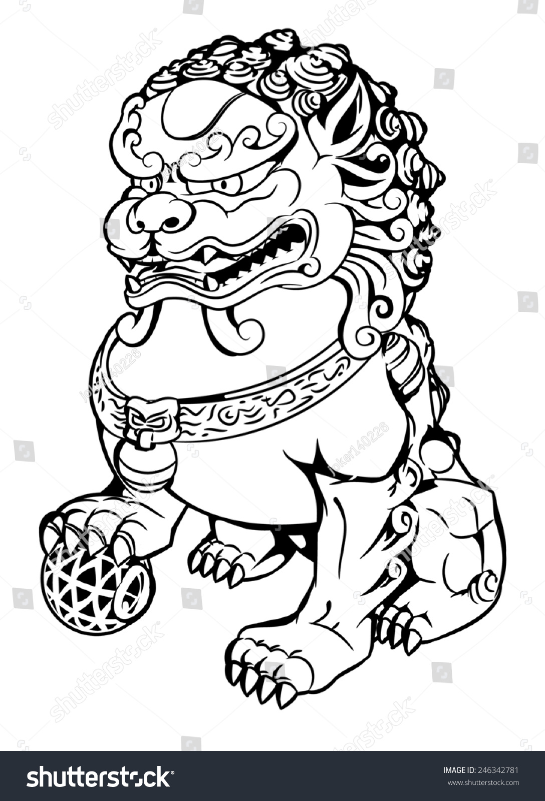 Chinese guardian lions stock vector 246342781 shutterstock for Chinese lion coloring page