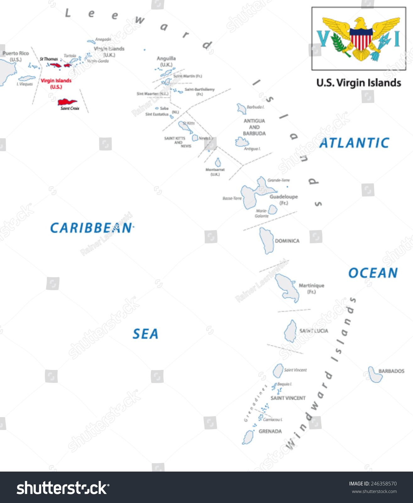 Lesser Antilles Outline Map With U.s. Virgin Island Map