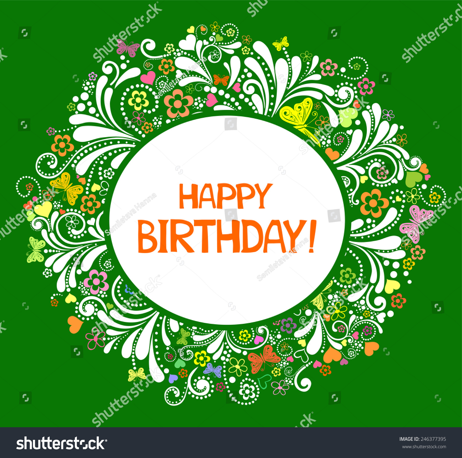 Happy Birthday Card Celebration Green Background Vector – Green Birthday Card