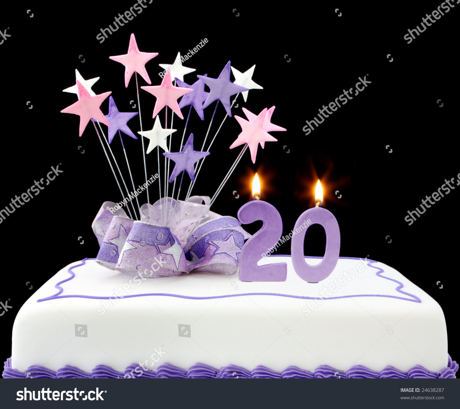 Fancy Cake Number 20 Candles Decorated Stock Photo Edit Now