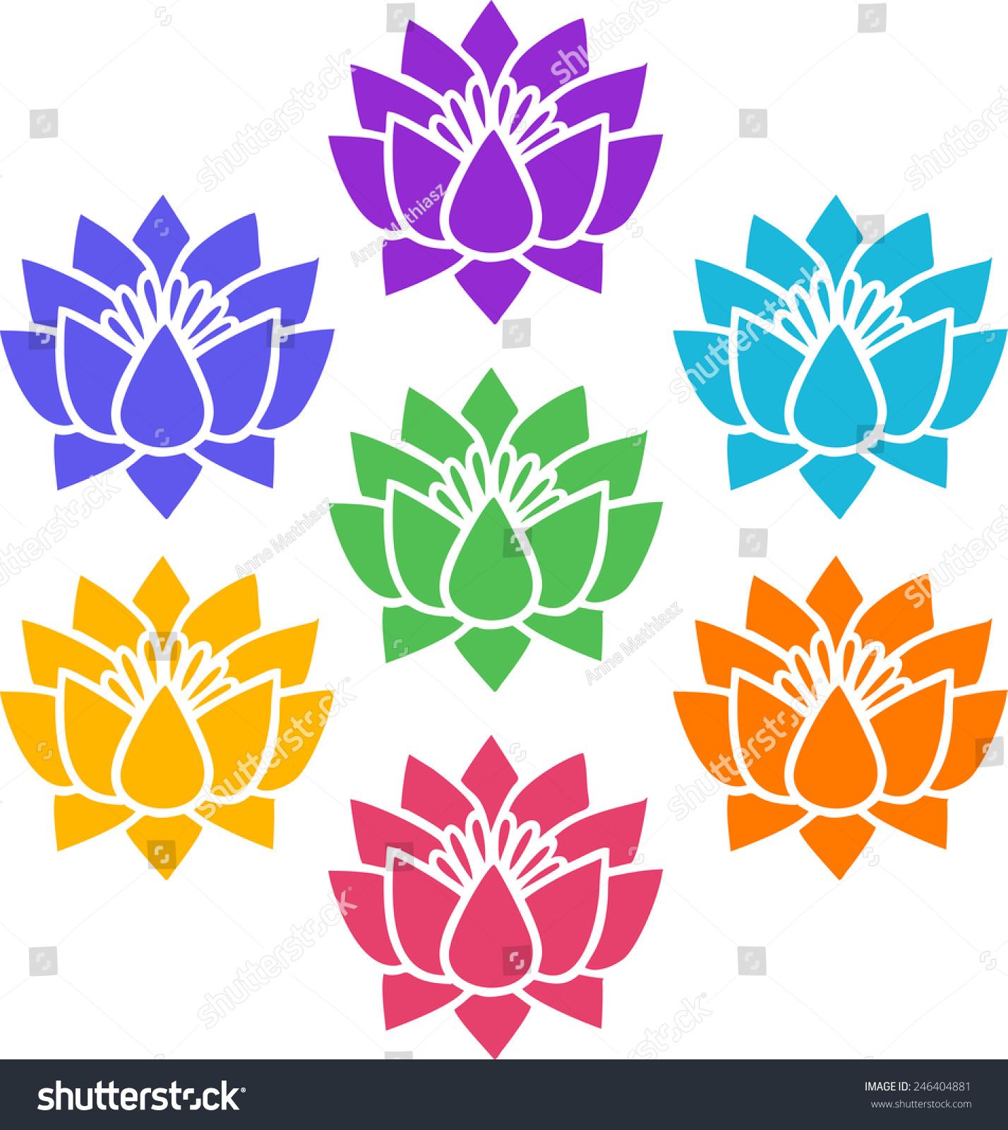 7 Chakras Lotus Flowers Cosmic Energy Stock Vector Royalty Free