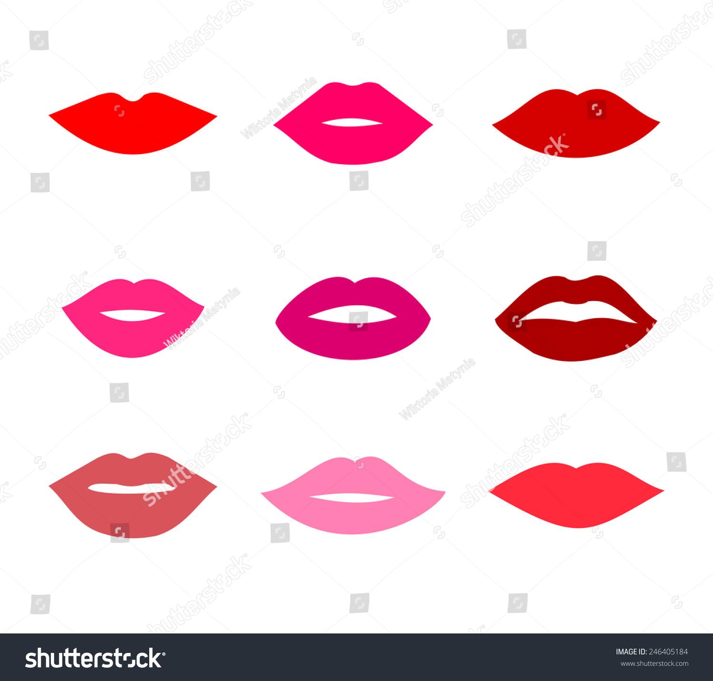 Lips Icons Shape Set Vector Stock Vector 246405184 ...