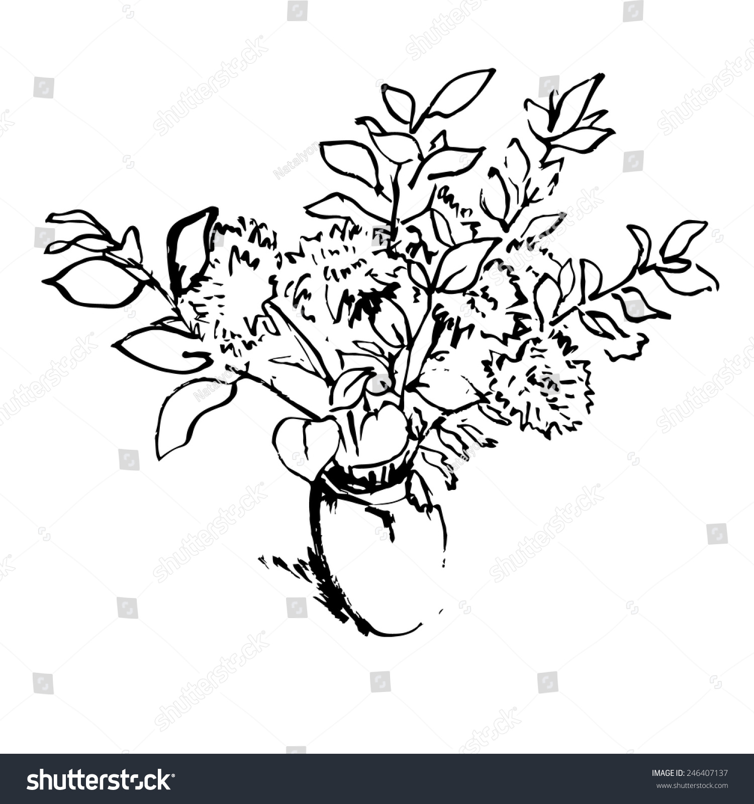 Black And White Aster Flowers Bouquet In A Vase Hand Drawn Pen And