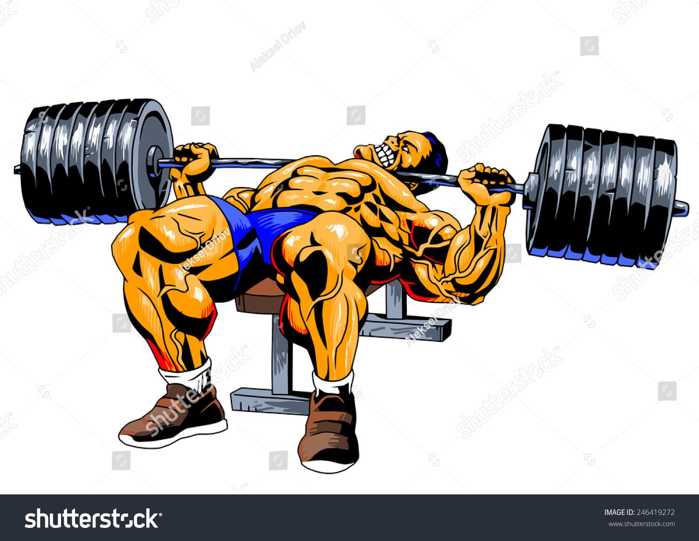 Bodybuilder bench press illustration color drawing