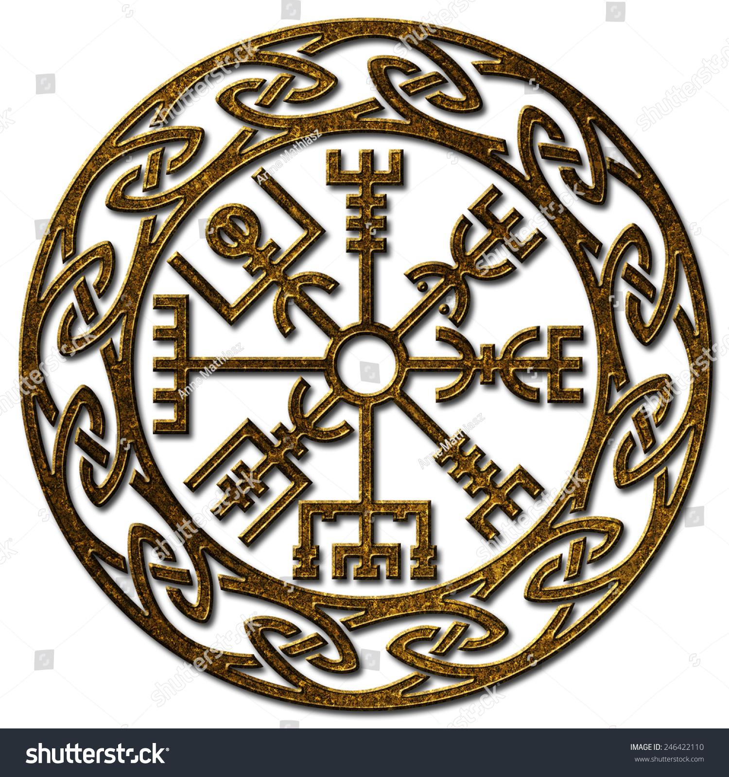 Vegvisir Icelandic Sign Viking Compass Stock Illustration 246422110