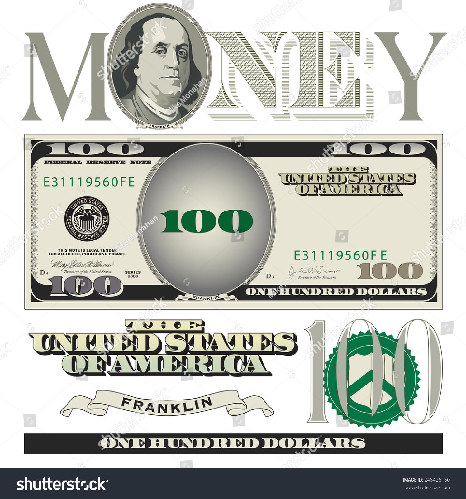 Miscellaneous 100 Dollar Bill Elements Stock Vector HD (Royalty Free ...