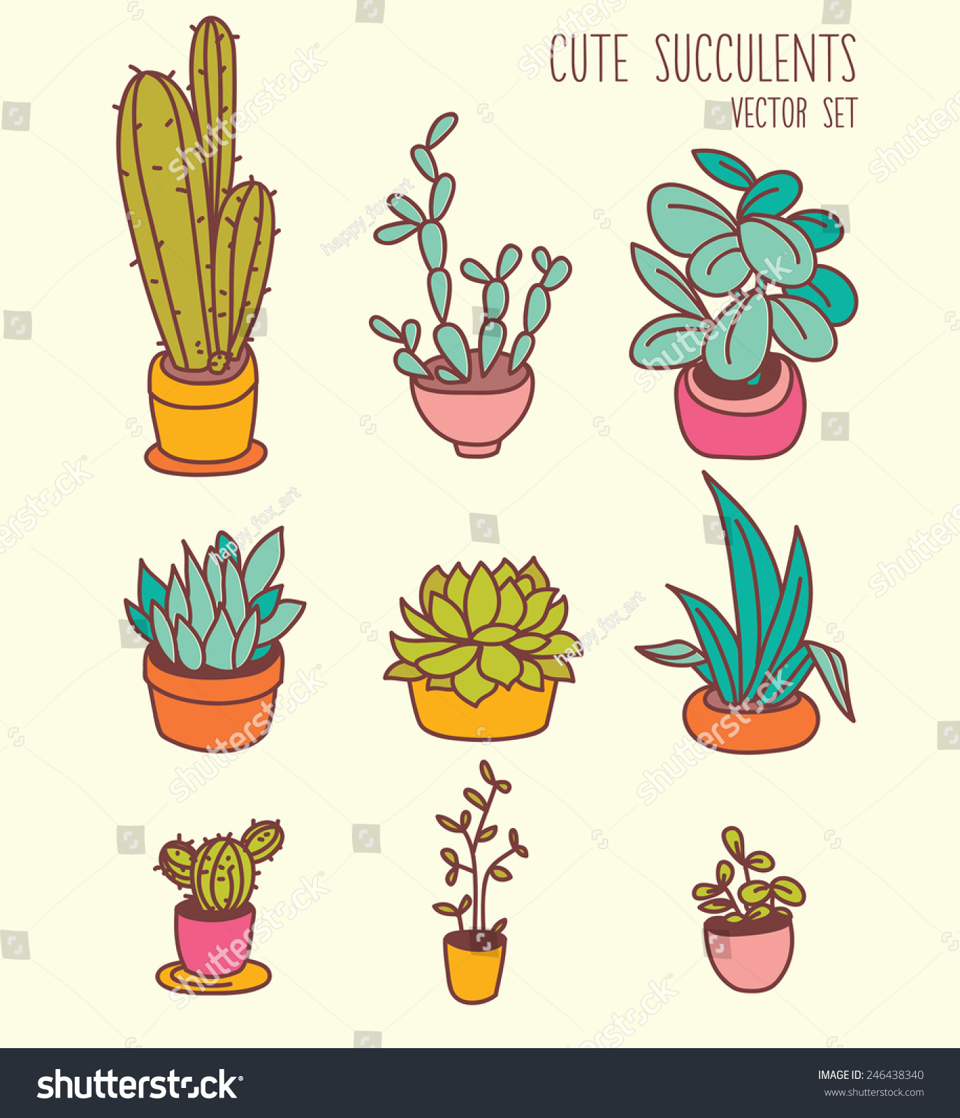 set cute potted plants cartoon style stock vector 246438340