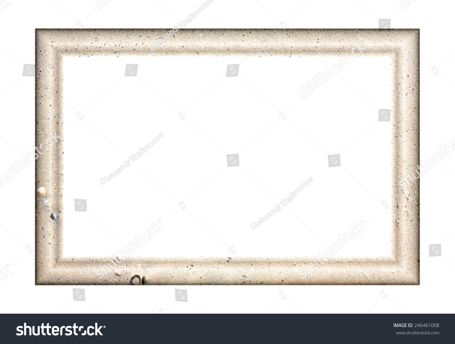 Convex pryamouolnaya empty frame paintings photos stock photo convex pryamouolnaya empty frame for paintings and photos with the texture of sea sand jeuxipadfo Images