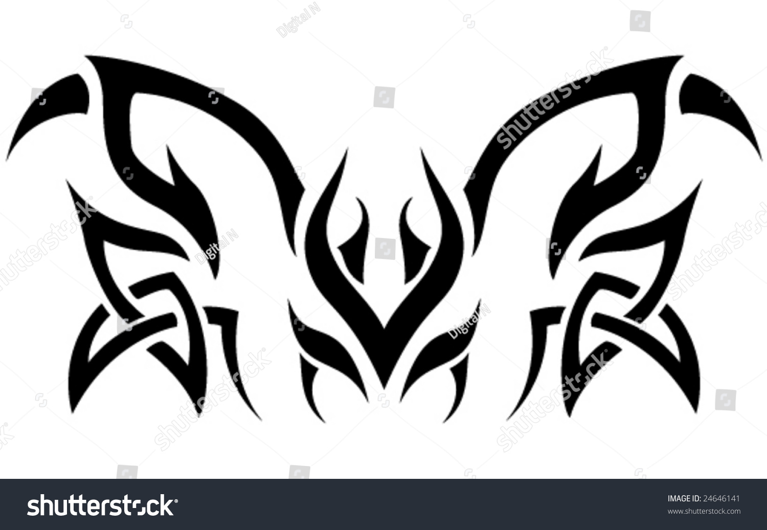 Stock Illustration Volleyball Tribal Abstract Vector: Vector Abstract Tribal Tattoo Shape.