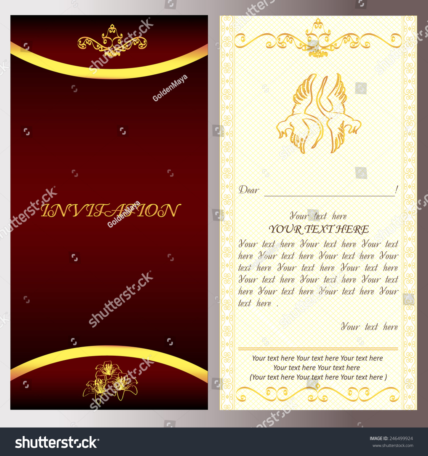 Golden Invitation Holiday Card Text Vector Stock Vector (Royalty ...