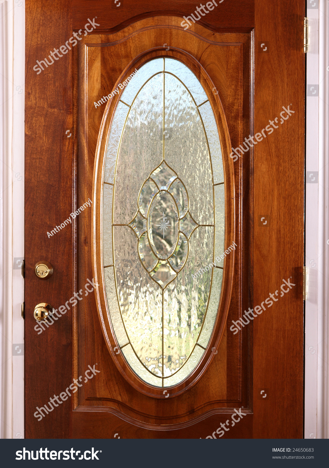 Stained Oval Glass Wooden Door Accents Stock Photo