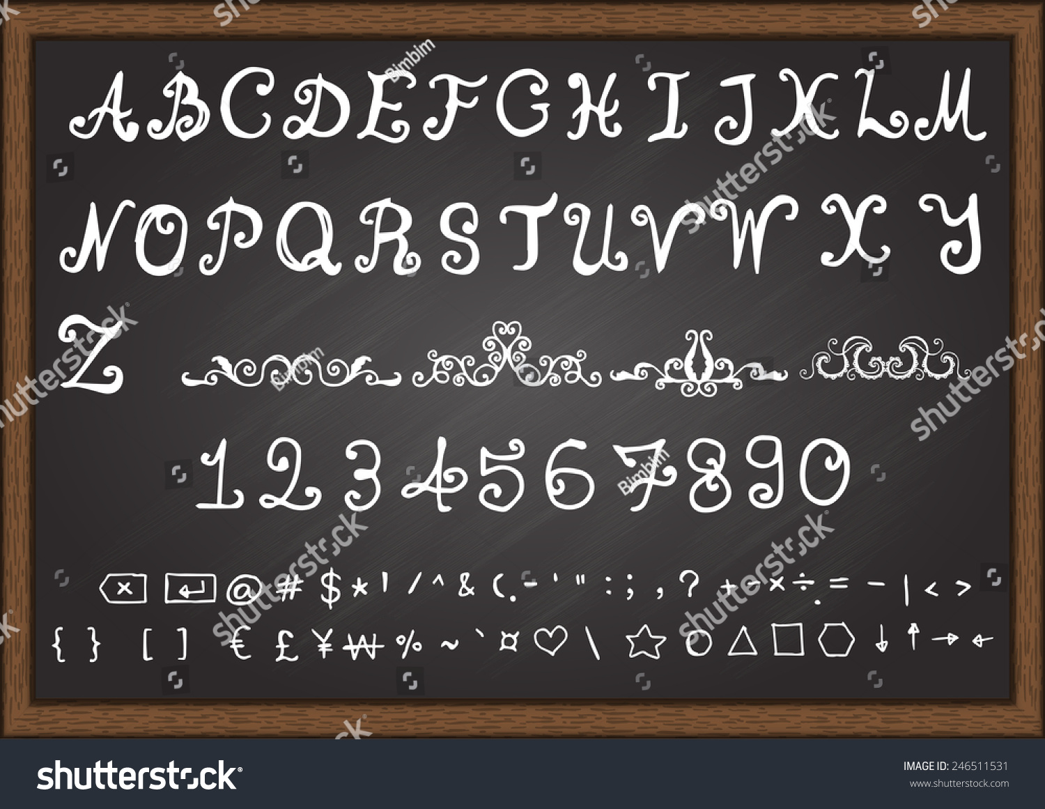 Hand Drawn Fonts Uppercase Letterslowercase Lettersnumbers Stock