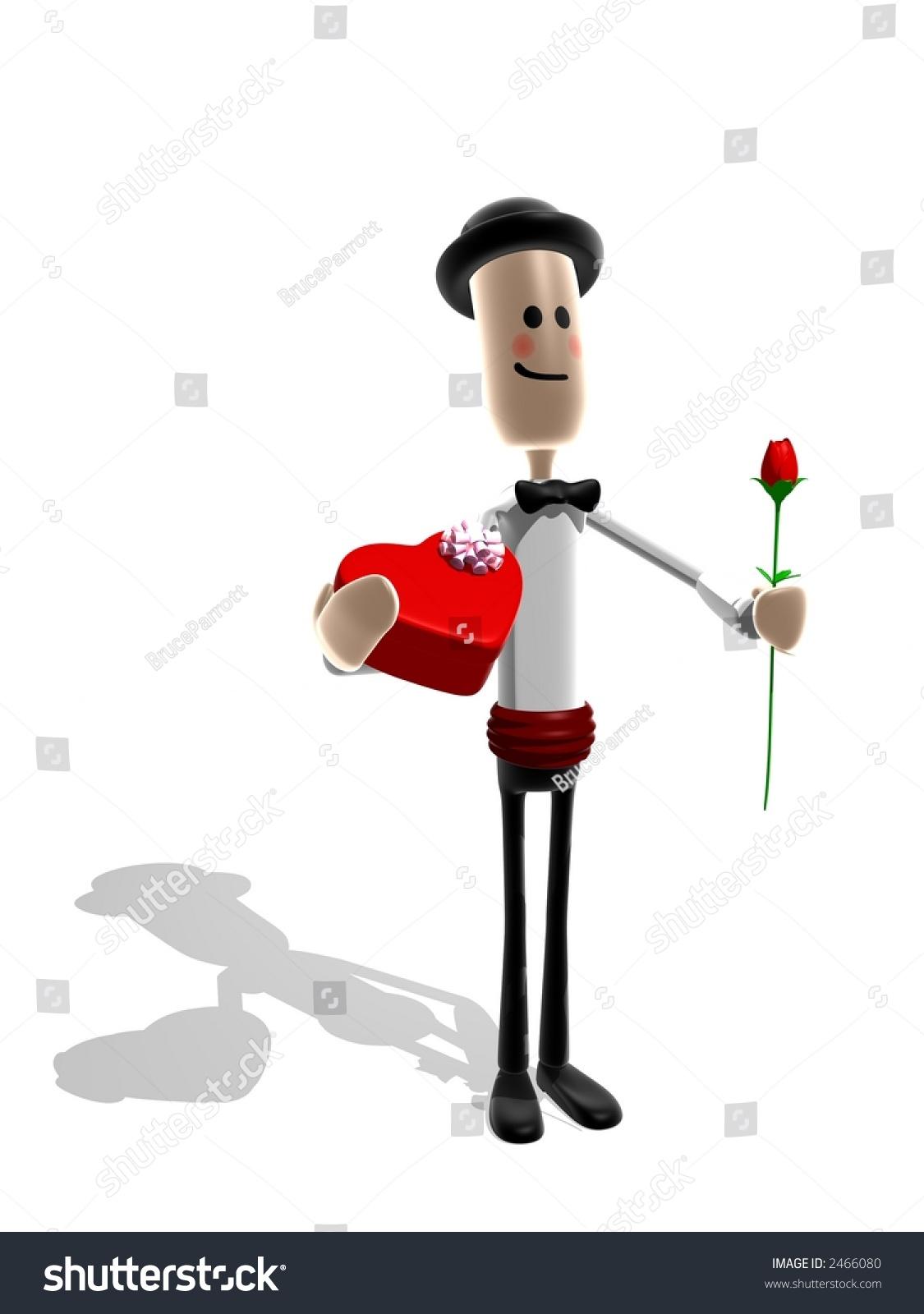 cartoon style man suit presenting rose stock illustration 2466080