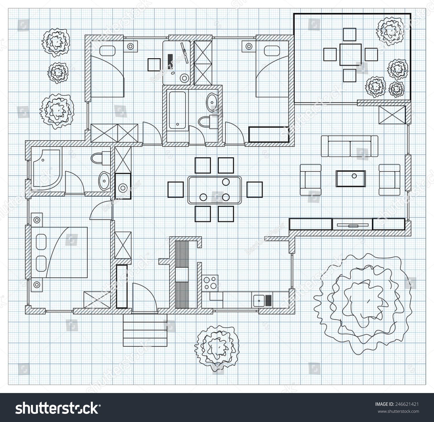 Black white floor plan sketch house stock vector 246621421 for Floor plan sketch