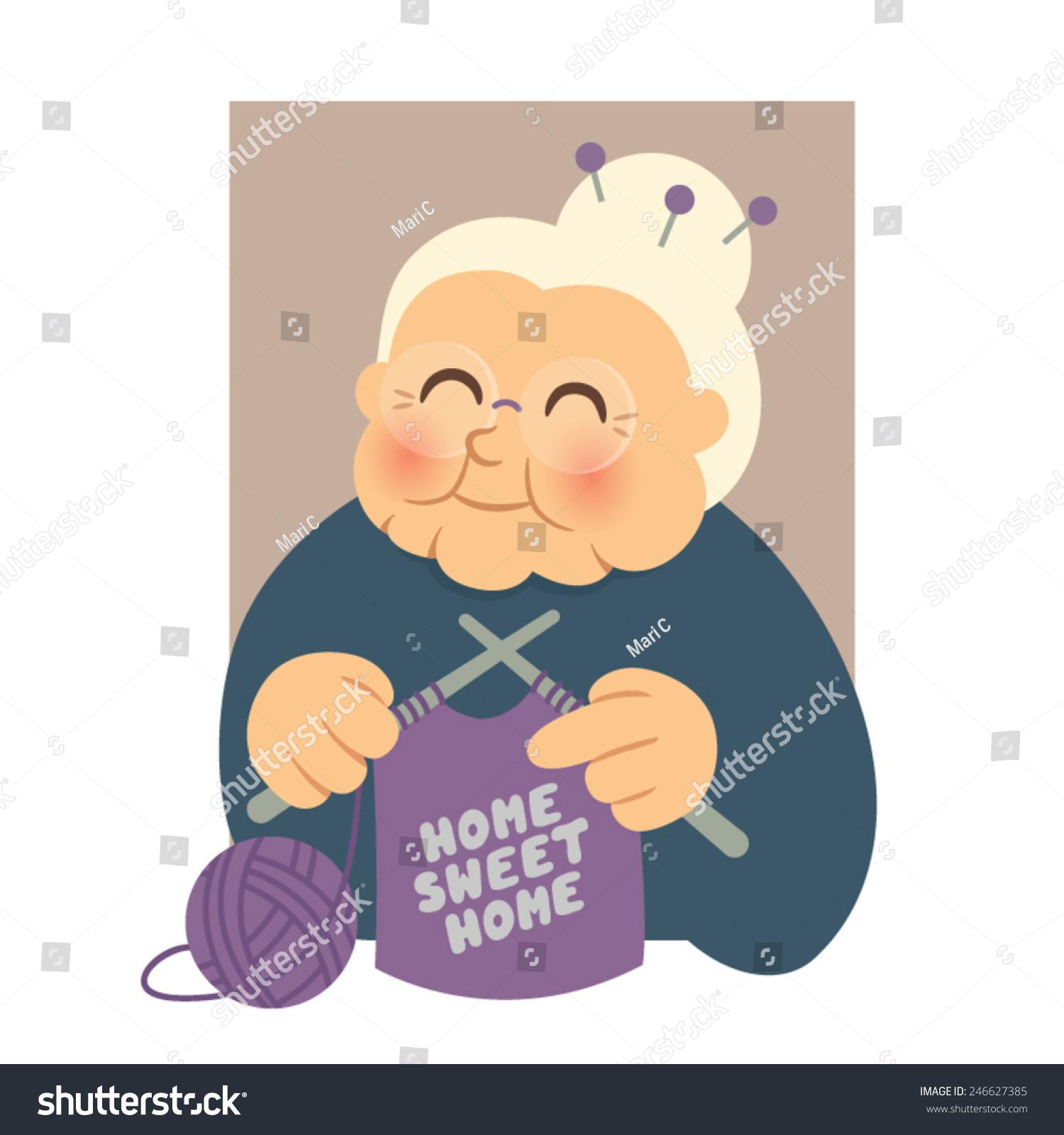 Get Knitting Grandma : Granny knitting stock vector illustration