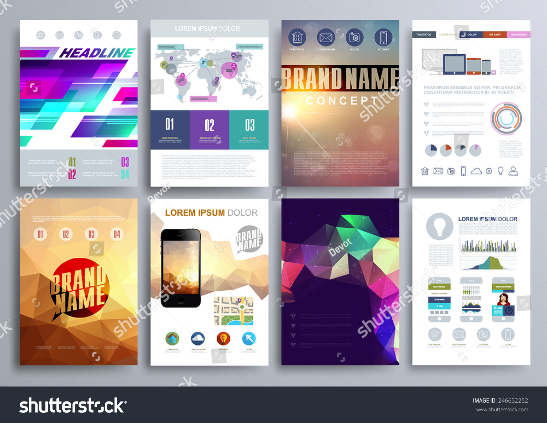 Set Design Templates Brochures Flyers Mobile Stock Vector - Templates for brochures