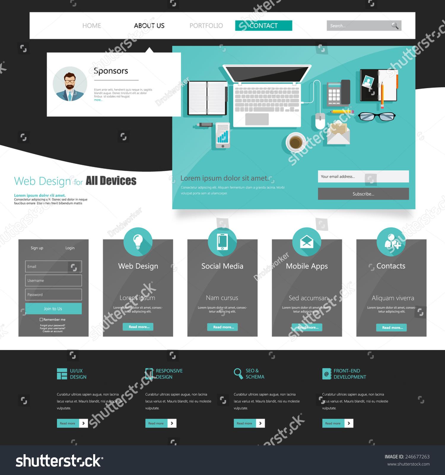 Business Flat Website Template Editable Vector Stock Vector ...