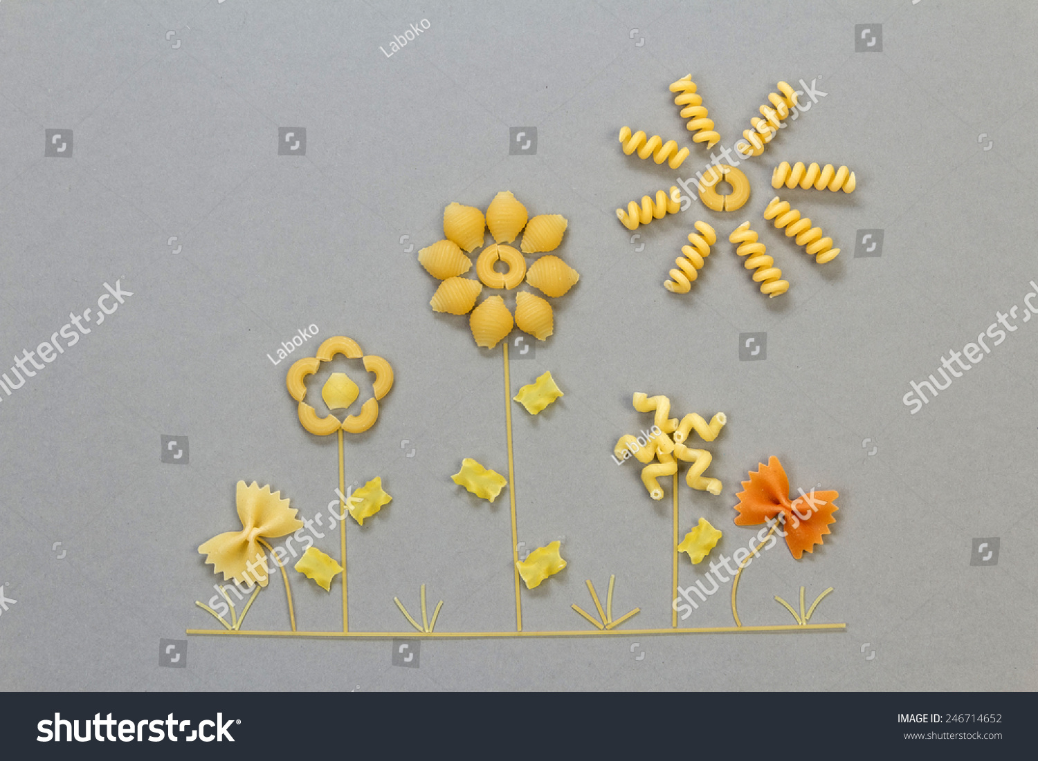Uncooked Italian Pasta Floral Shapes On Stock Photo Royalty Free