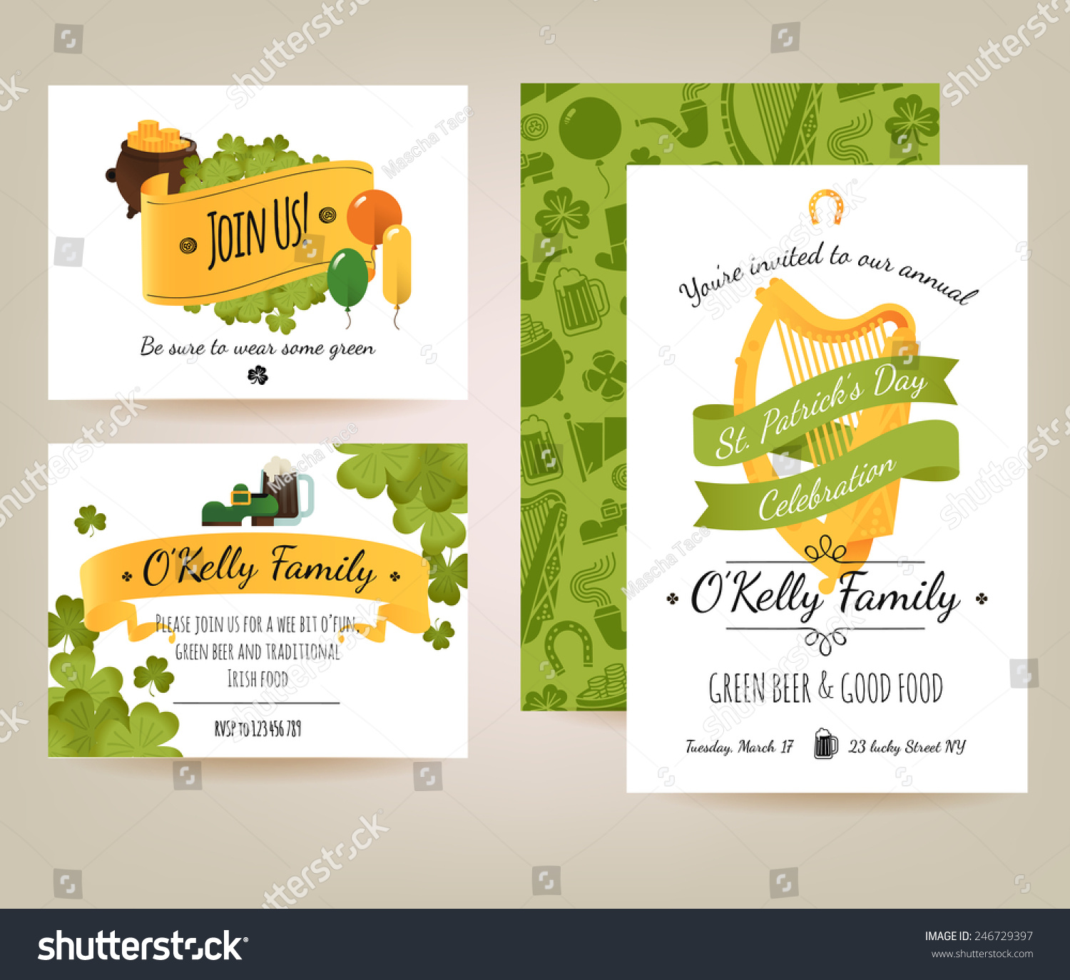 Vector modern flat design invitation card stock vector 246729397 vector modern flat design invitation card set on saint patricks day annual celebration including background pattern stopboris Choice Image