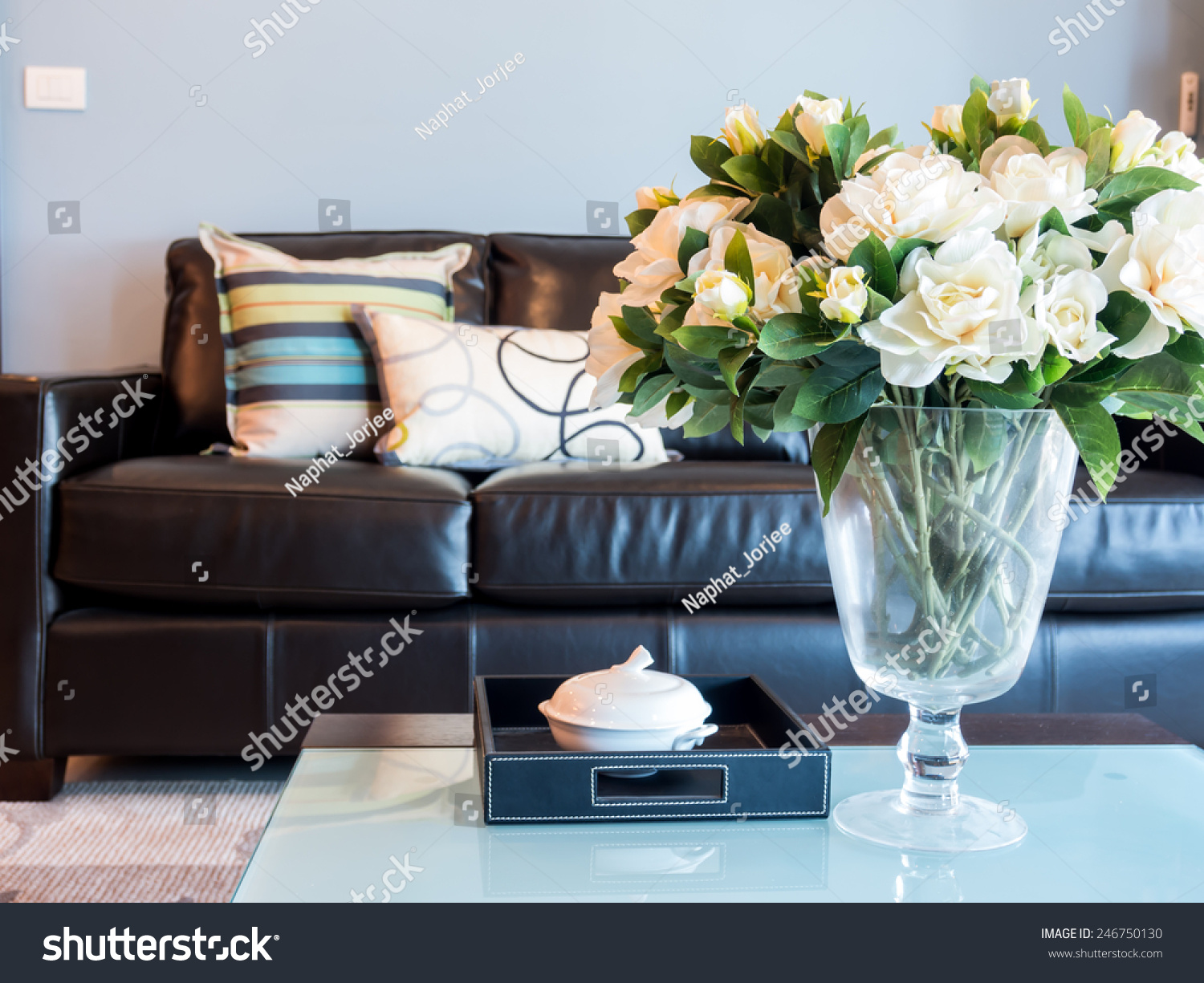 Modern Living Room Interior Design With Artificial Flower Vase Stock Photo 246750130 Shutterstock