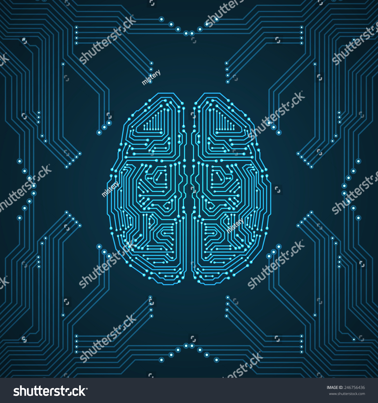 Circuit Brain Reusable : Brain circuit board texture digital concept stock vector