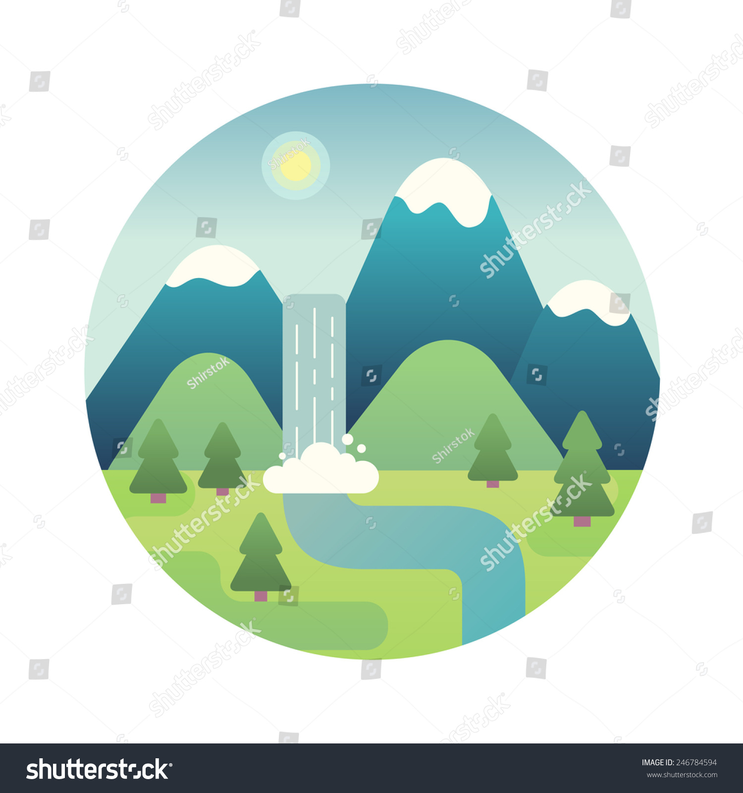 Landscape illustration mountain river waterfall flat stock for Landscape design icons