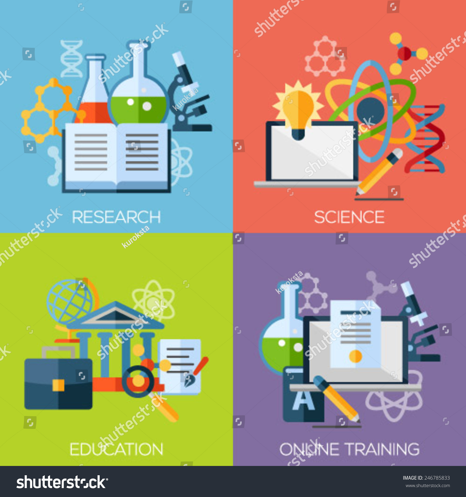 flat design concepts for research science education online training concepts for web graphic designer education - Fashion Designer Education And Training