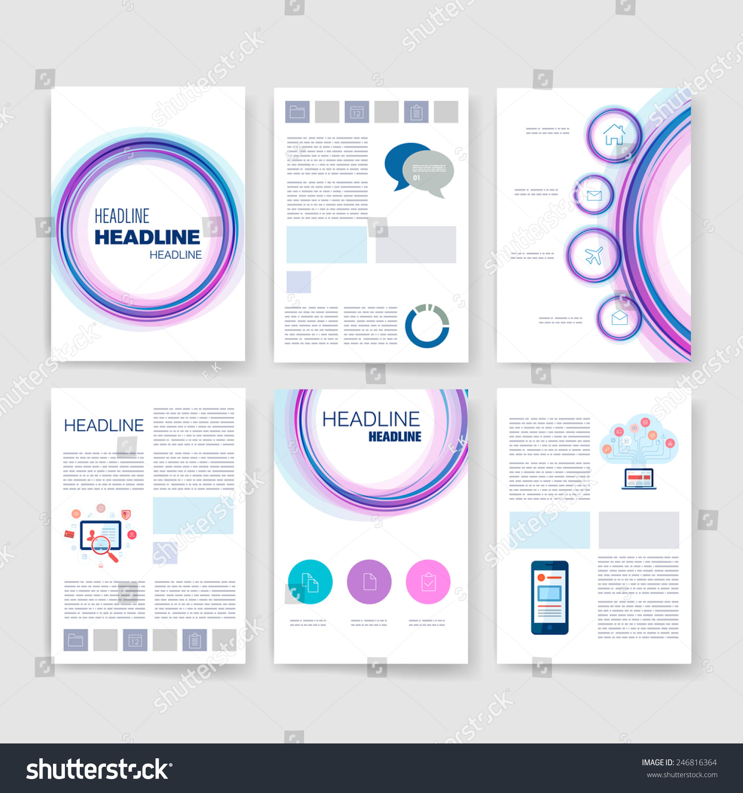 Templates Applications Infographic Concept Flyer Brochure Stock Vector Royalty Free 246816364