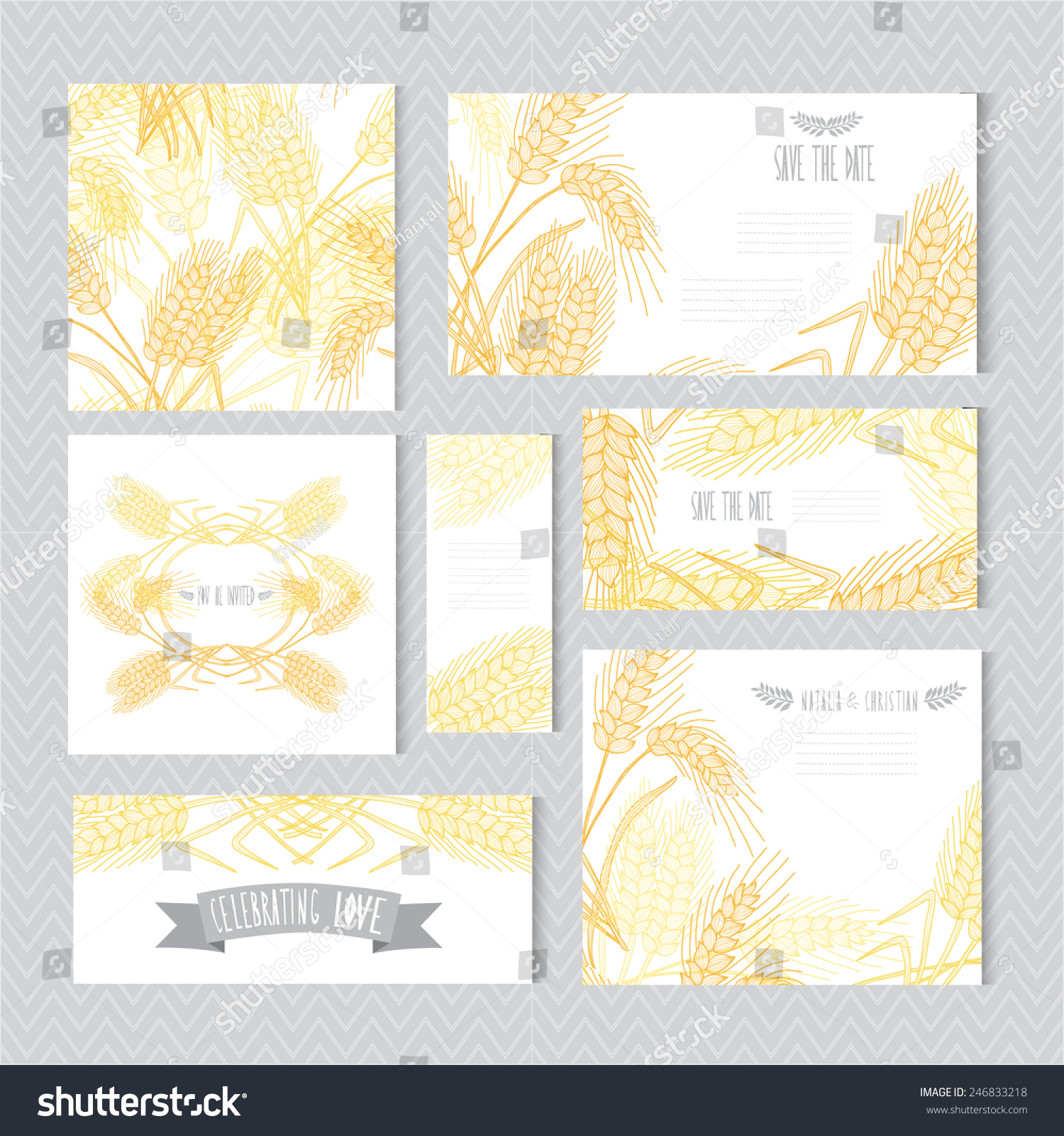 Elegant Cards Decorative Wheat Design Elements Stock Vector ...