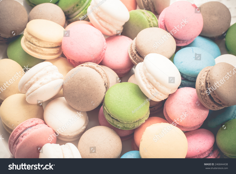 French macaroons. Coffee, chocolate, vanilla and raspberry macaroons ...