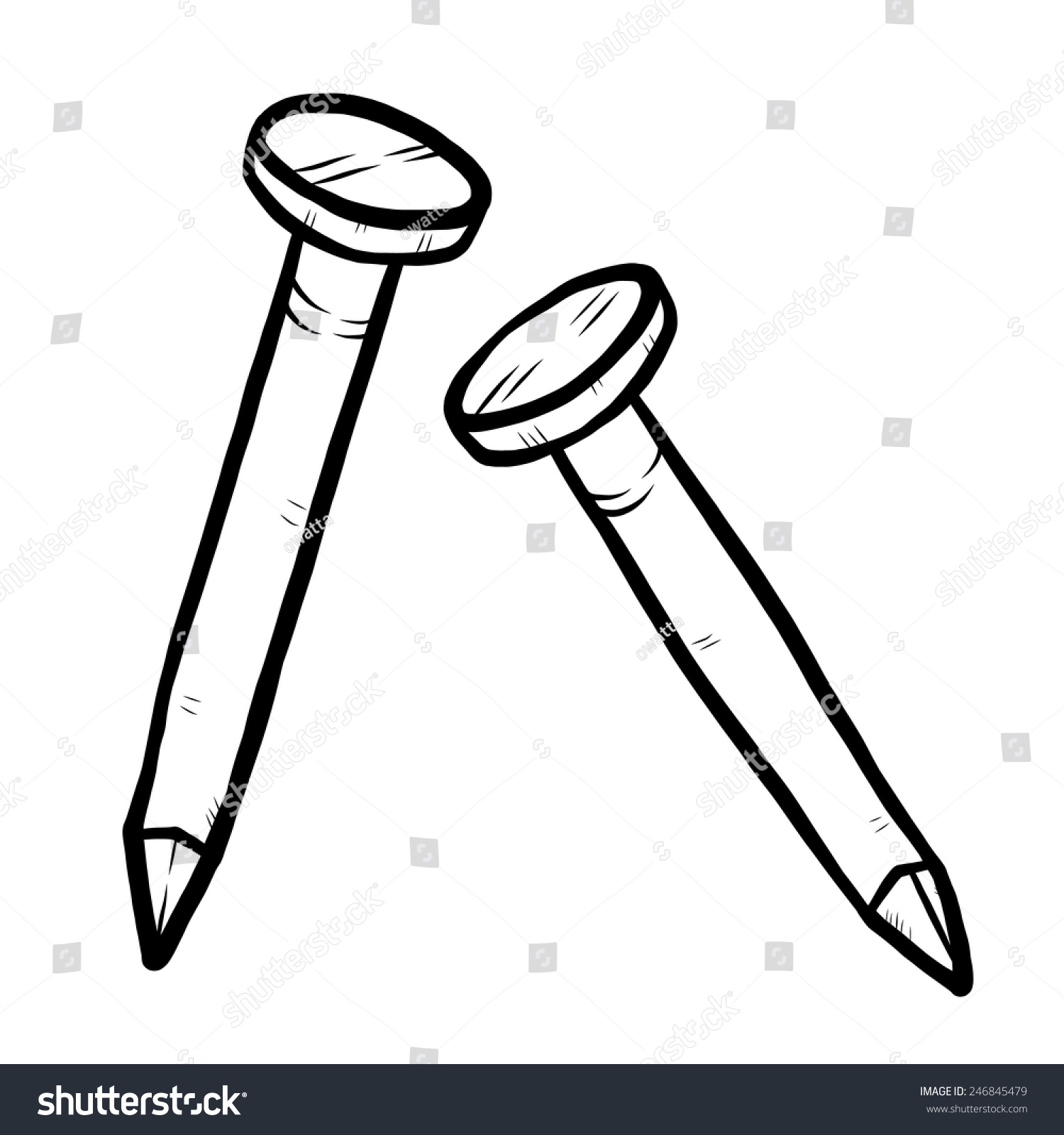 Two Nail Cartoon Vector And Illustration Black White Hand Drawn Sketch