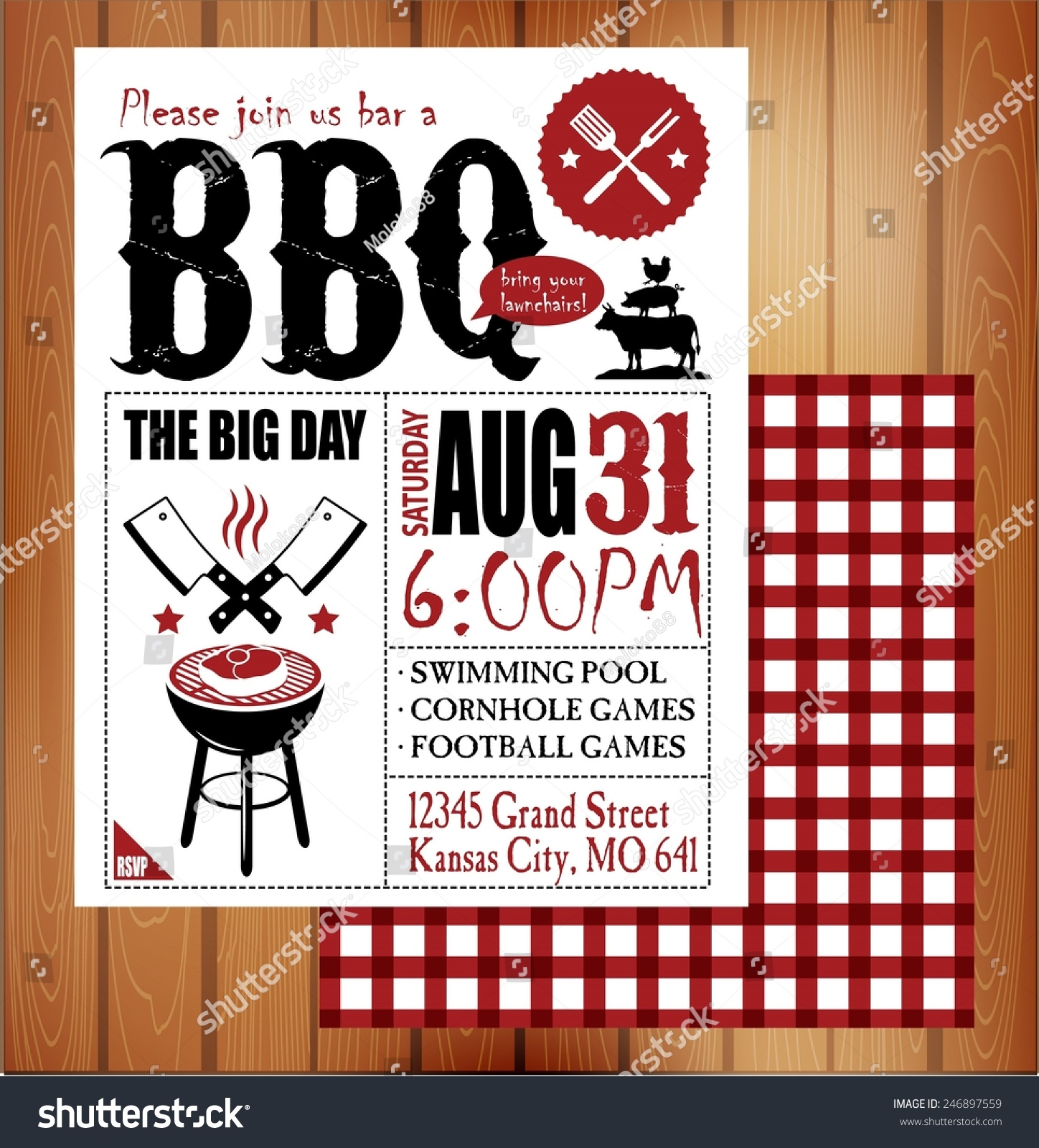 Vintage Barbecue Invitation Card Stock Vector (Royalty Free ...