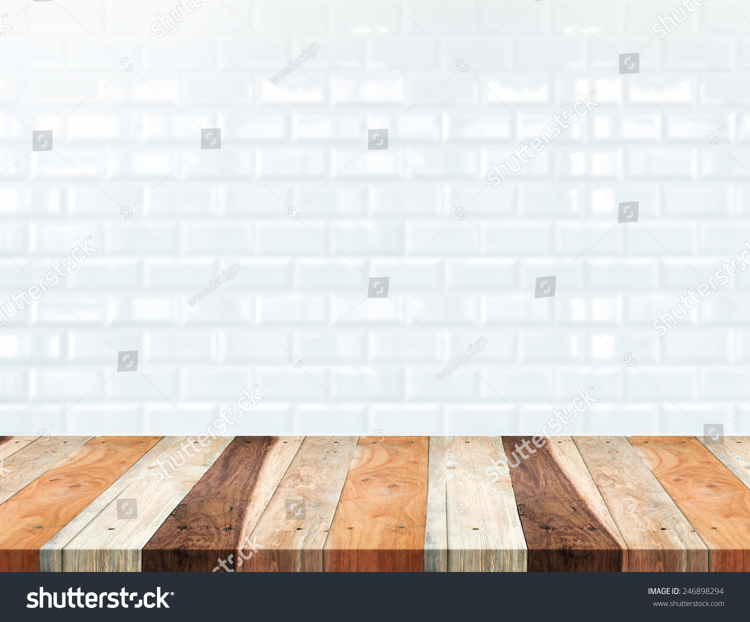 Blank Kitchen Wall Empty Tropical Wood Table Blur White Stock Photo 246898294