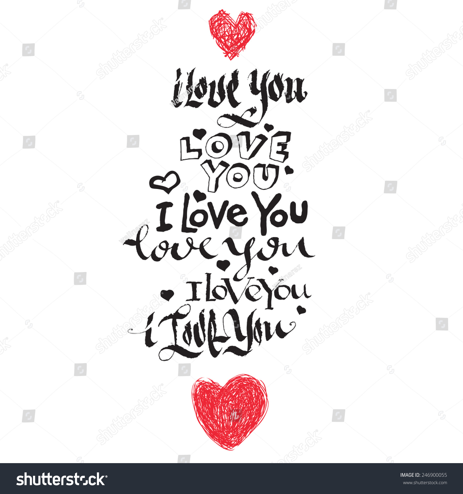 Calligraphy style writing love you stock vector 246900055 I love you calligraphy
