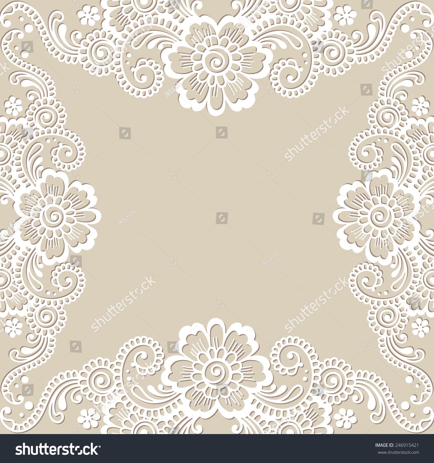 White Flower Frame Lace Ornament Vector Illustration Ez Canvas
