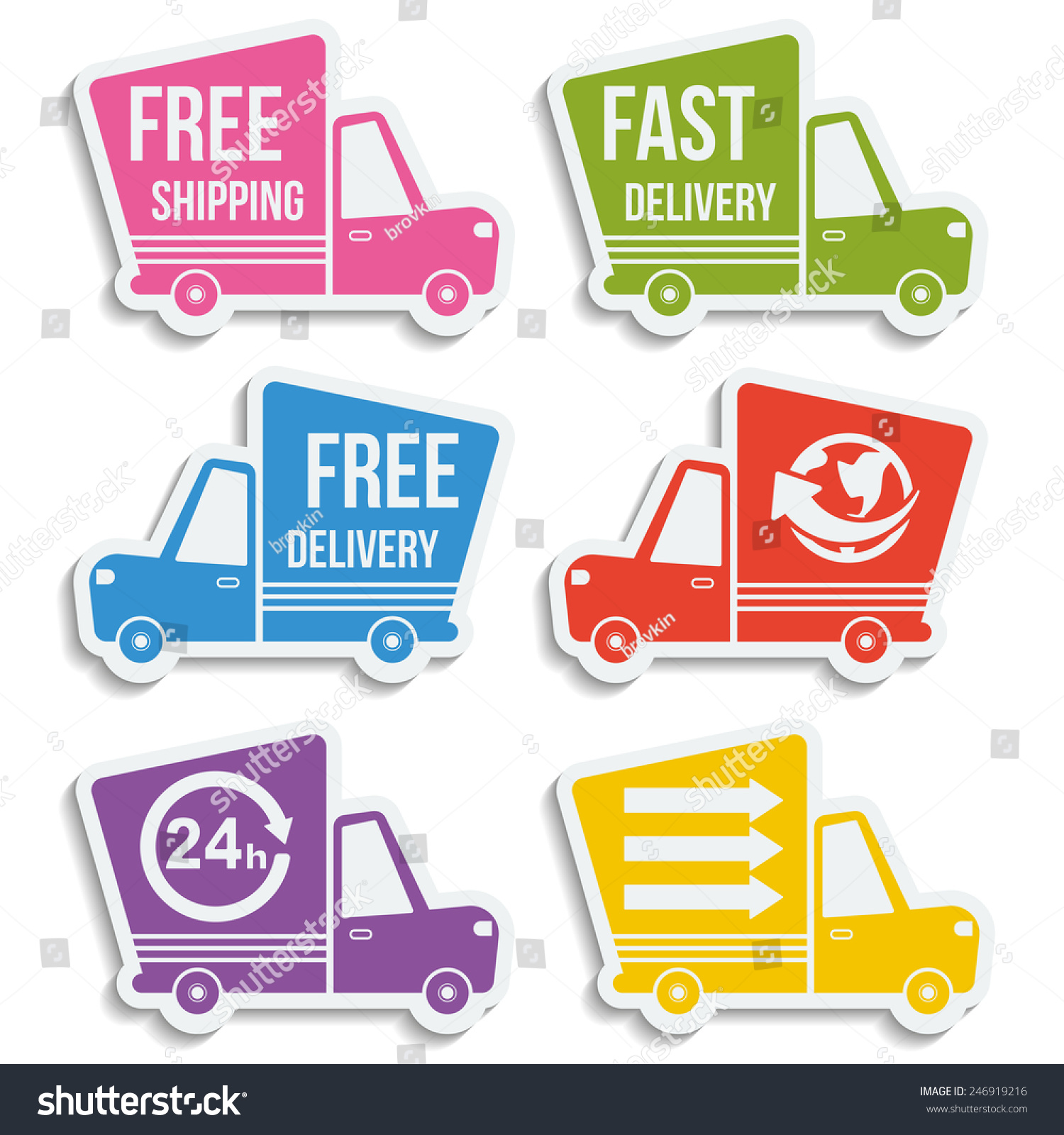 Shipping Delivery: Free Delivery Fast Delivery Free Shipping Stock Vector