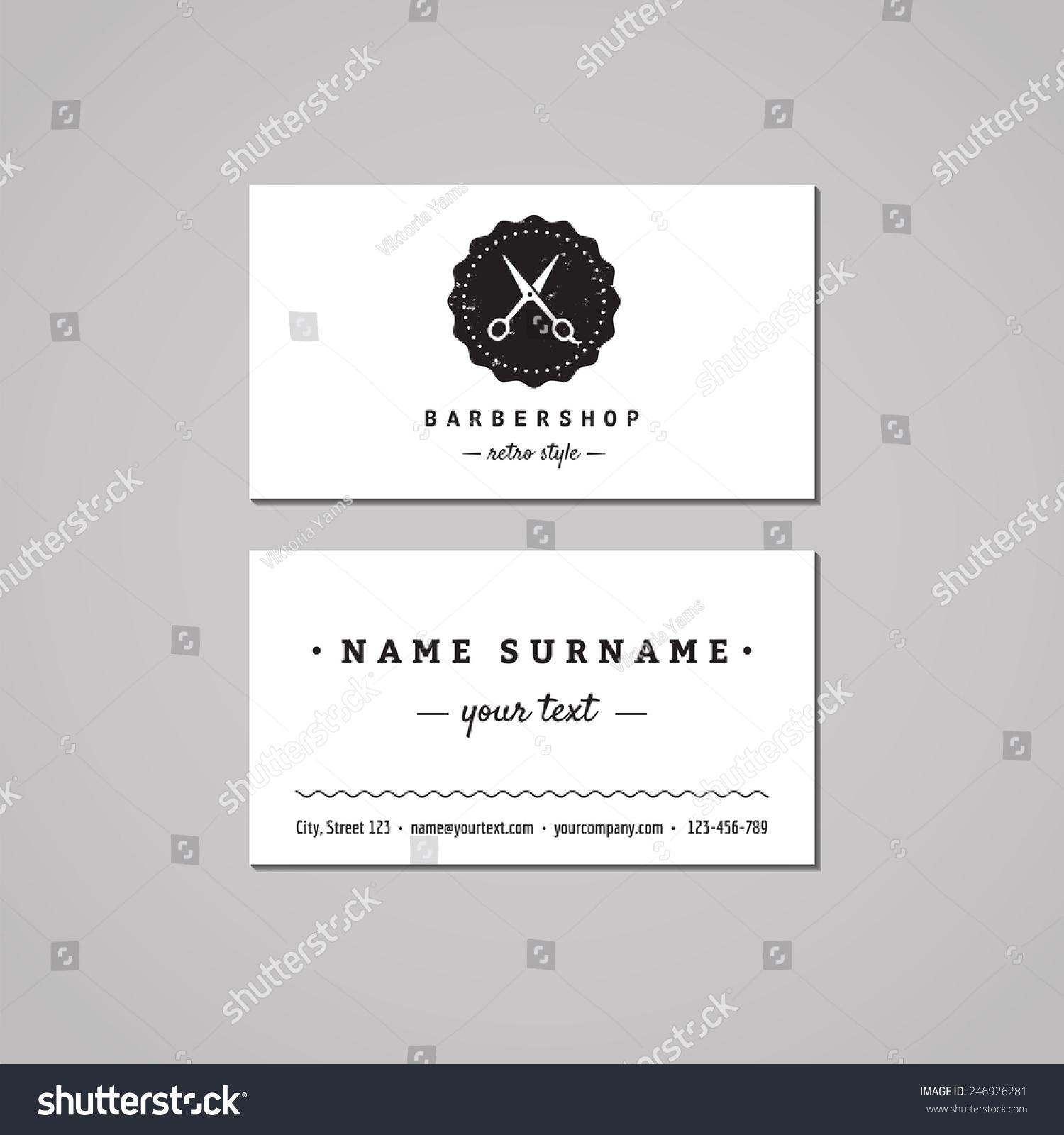 Barbershop Hair Salon Business Card Design Stock Vector 246926281 ...