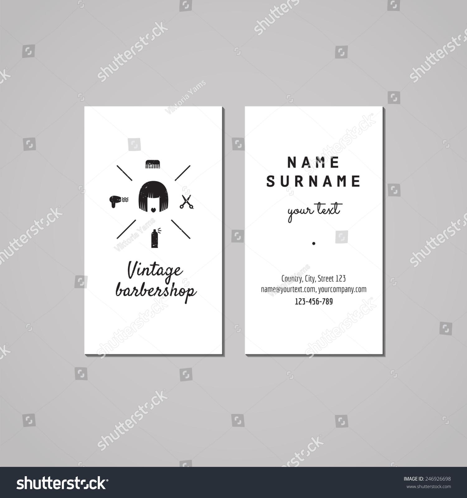 Barbershop Hair Salon Business Card Design Stock Vector 246926698 ...