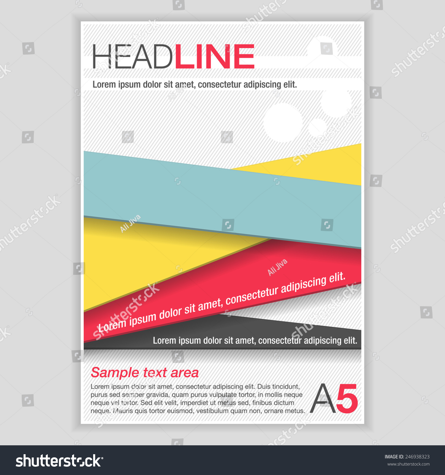 plain brochure template - simple flyer template brochure color ribbons stock vector
