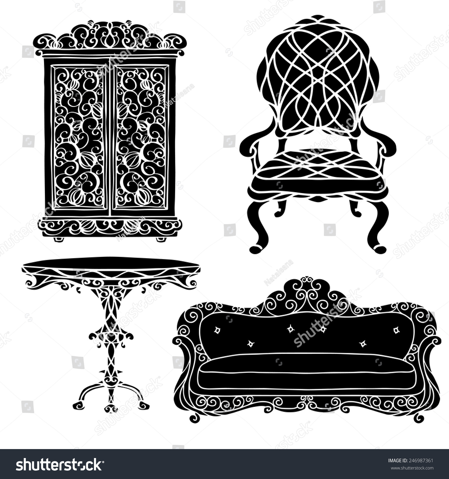 Vintage Furniture Set Chair Sofa Table Stock Vector