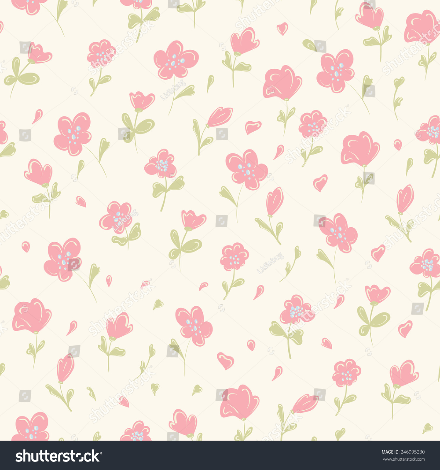 Seamless Pattern Flowers Vintage Background Vector Stock