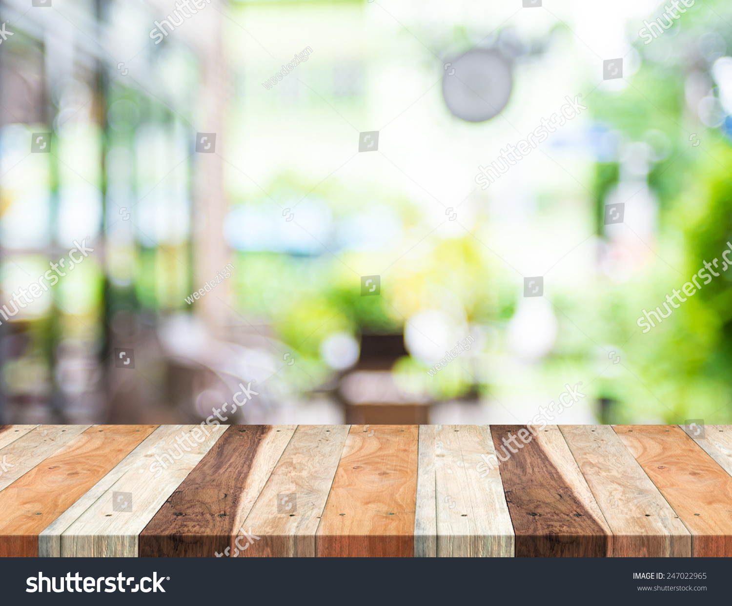 Empty Tropical Wood Table Blurred Garden Stock Photo