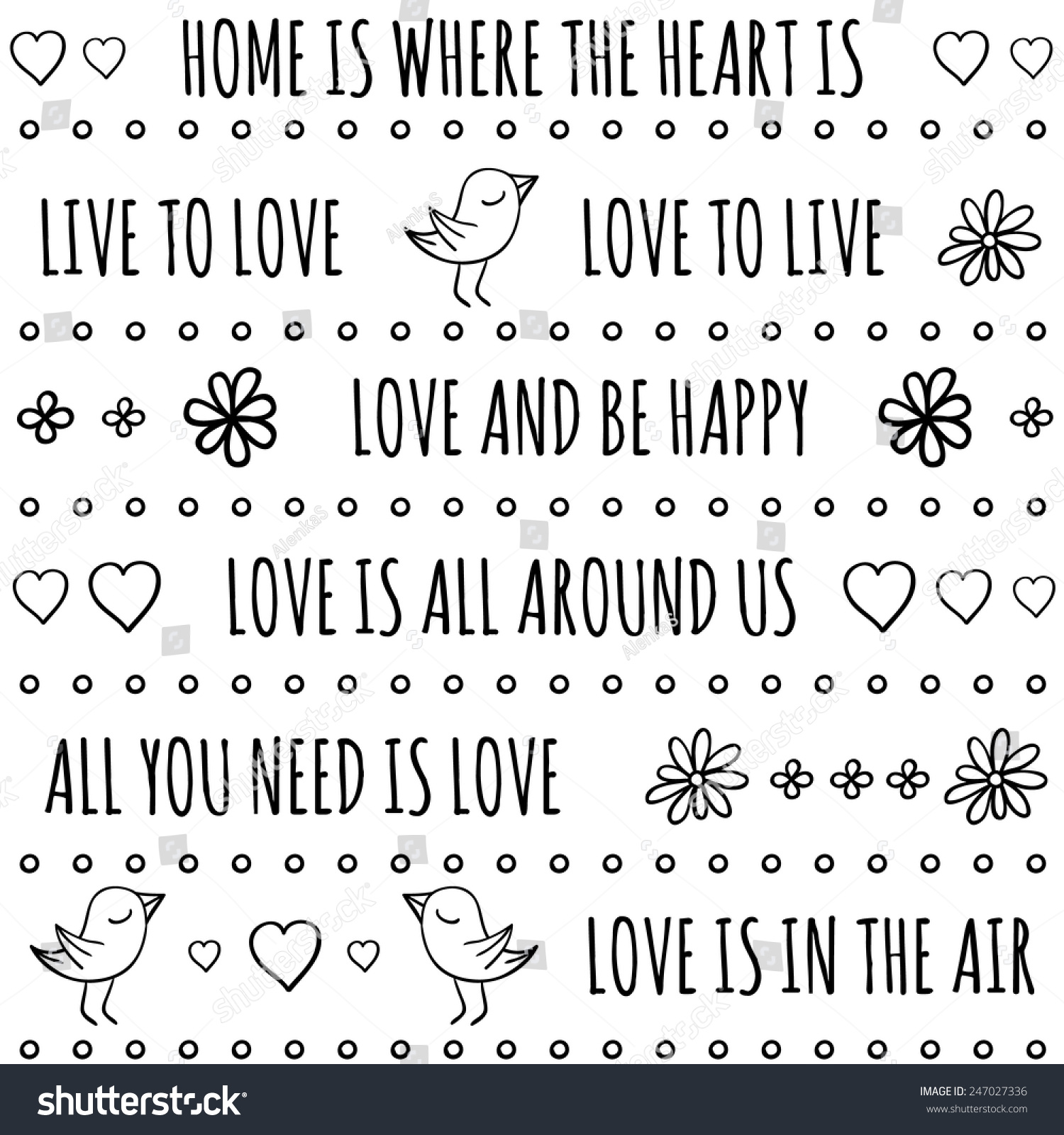 Black And White Love Quotes Love Quotes Vector Seamless Pattern Black Stock Vector