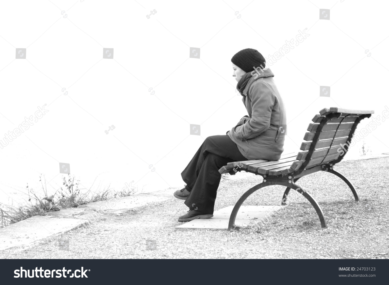 Girl Sitting Alone On Bench Sad Girl Sitting On Pa...