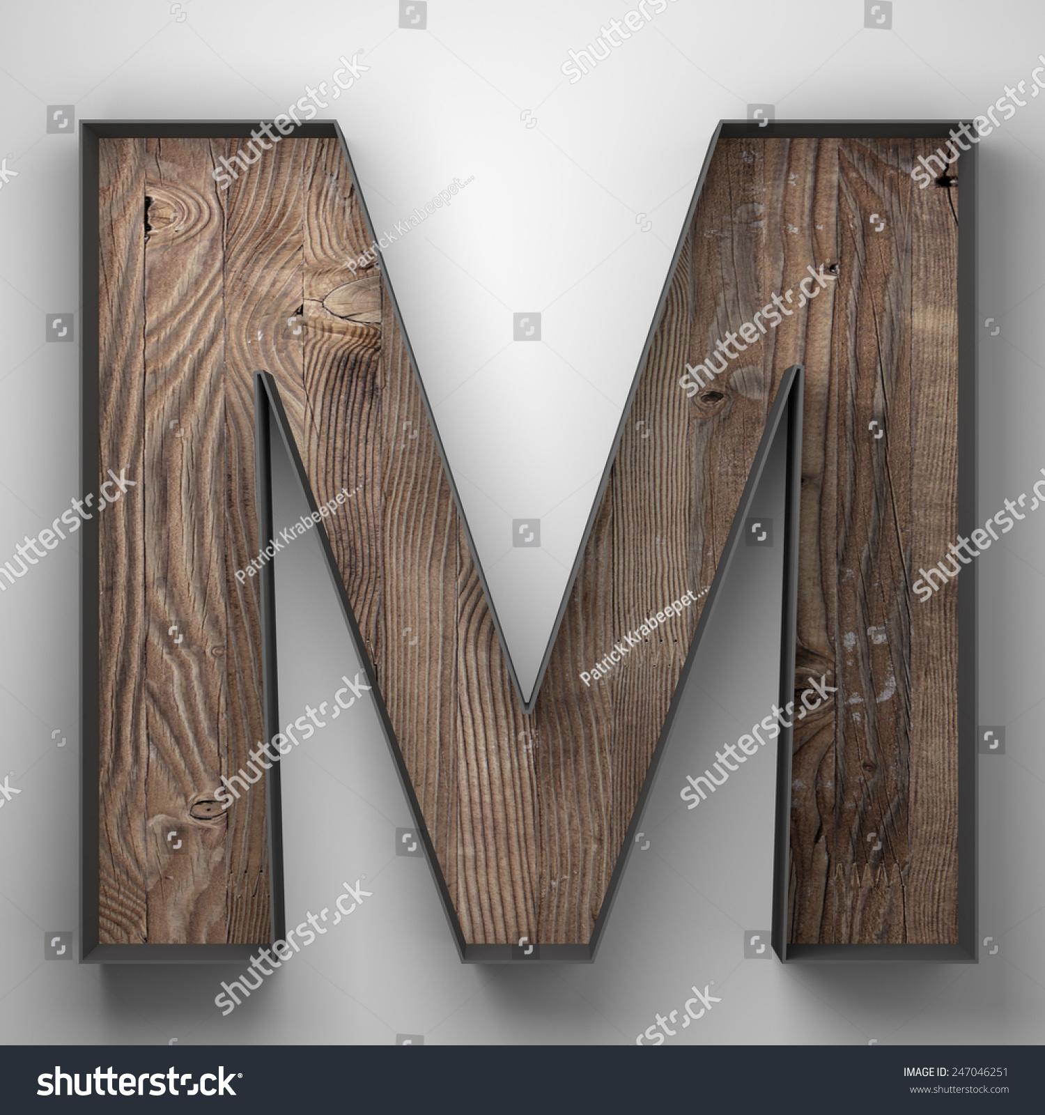 vintage wooden letter m with metal frame 247046251